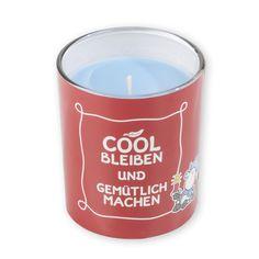 """Kerze »Cool bleiben«  """"Endlich eine coole Version des britischen Klassikers! Diese schöne Kerze duftet wunderbar nach """"""""Heiße Himbeere"""""""" und lädt zu gemütlichen Stunden auf dem Sofa ein."""" http://sheepworld.de/shop/Winter-14-15/Kerze-Cool-bleiben.html"""