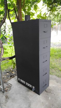 an old metal filing cabinet to an outdoor smoker | Outdoor ...