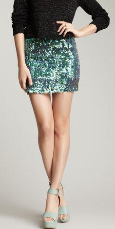 Aqua sequin skirt