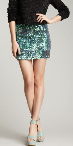 Aqua sequin skirt