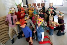 Cardboard Animals, Paper Board, Animal Masks, Sharpie, Mask Making, Art Lessons, Workshop, Creatures, Third