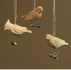HomArt Carved Wood Bird Ornaments