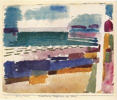 Paul Klee, La plage de St Germain, près de Tunis / The beach in St Germain, near Tunis / Badestrand St Germain bei Tunis Aquarelle / Watercolour 1914 on ArtStack #paul-klee #art