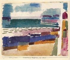 Paul Klee, La plage de St Germain, près de Tunis / The beach in St Germain, near Tunis / Badestrand St Germain bei Tunis Aquarelle / Watercolour 1914 on ArtStack #paul-klee #art