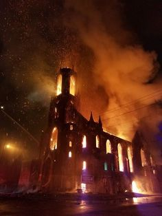 Burning church in St. Louis, 2017