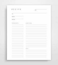 Minimalist Blank Recipe Sheet Create your own 8.5 x 11 (U.S.) or A4 (International) Recipe Sheet Simply write in your own recipes, titles, prep/cook time, ingredients, directions and notes. Print out as many times as youd like.   PRINTABLE RECIPE SHEET - Includes one 8.5 x 11 U.S.