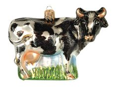 Milking Cow Polish Mouth Blown Glass Christmas Ornament Holstein Decoration