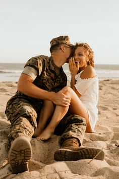 Southern California and Destination wedding photographer / Maya Lora Photo - Beach engagement session with this cute military couple -