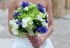 Bride's Bouquet Which Includes: White Hydrangea, White Freesia, Blue Delphinium, Green Button Mums, Green Spider Mums & Green Hypericum Berries Bridal Bouquet Blue, Bride Bouquets, Bridesmaid Bouquets, Blue Bridal, Wedding Flower Photos, Wedding Photo Albums, Wedding Flowers, Wedding Ideas
