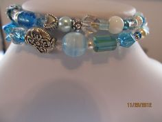 Turquoise Swarovski and Fired Glass Braclet- No clasp