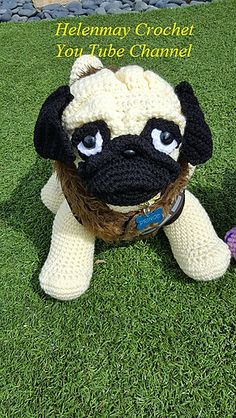 Ravelry: Crochet Pug Amigurumi Dog pattern by Helen Brady Crochet Cowl Free Pattern, Crochet Amigurumi Free Patterns, Crochet Blanket Patterns, Crochet Dolls, Ravelry Crochet, Crochet Hats, Stuffed Animal Patterns, Cute Crochet, Crochet Animals