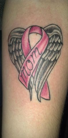If I were to ever get a tattoo it would be in memory of my Grandma who fell victim to breast cancer and entered Heaven just last year. Instead of mom I would have the ribbon say Grandma or Dot (her nickname, her full name was Dorothy)