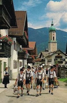 Bavaria Germany Village Bikers Art Print Postcard