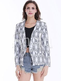 White Long Sleeve Black Diamond Print Crop Blazer
