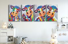 Colorful pop art acrylic on canvas painting, modern 4 pieces abstract happy cows kids home decor, ready to hang on the wall artwork. #art #paintings #abstract #acrylic #modern #original #wall #decor #gift #homedecor #abstractpainting #originalpainting #acrylicpainting #canvaspainting #housewarminggift #livingroomwallart #contemporaryart #wallartwork #silhouette #figures #abstractfigure #popart #colorfulpainting #cowspainting