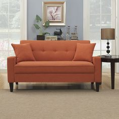 The Best Sofas For Small Spaces: Portfolio Ellie Orange Linen Sofa