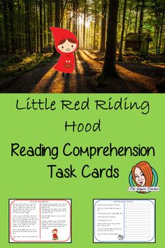 Little Red Riding Hood Reading Comprehension Cards English Lessons, Red Riding Hood, Teacher Newsletter, Task Cards, Primary School, Reading Comprehension, Teaching English, Little Red, Teacher Resources