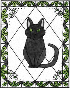 Black Cat. Hand painted in the stained glass style on unframed Plexiglas. Measures 8x10 inches. Hangs by satin ribbon. Fits standard 8x10 in. frame ( not included ) Designed and painted by Kimberley Rose
