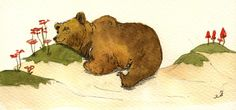 """Grizzly bear mother sleeping flowers forest animal 8x4"""" 21x9.5 cm art original Watercolor painting by Juan bosco"""