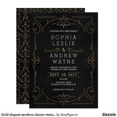 "Gold elegant modern classic vintage wedding invitation card Vintage elegance ornate swirl frame design in gold color on grunge background. Damask pattern with monogram design on the back, modern, elegant and classy, perfect for vintage wedding, art deco wedding all year round. Editable background color to match your wedding theme colors. See all the matching pieces in this ""Gold Modern Classy wedding"" collection"