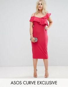 62e422ef984 ASOS CURVE Ruffle Asymmetric Bodycon Dress Bodycon Dresses Uk