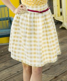 Look at this #zulilyfind! Yellow Gingham California Sunset Skirt by Shabby Apple #zulilyfinds