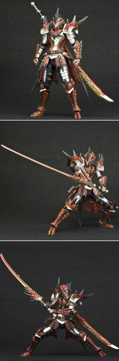 "Hunter Swordsman Laeus Series [Monster Hunter 4] Full Ratholos armor and wyvern blade ""fire"" impressive"