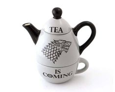 Game of Thrones inspired teapot Tea is Coming I know how to bring Jon Snow back to life! A hot cuppa should do the trick! Especially when it is served Game Of Thrones Houses, Dire Wolf, Tea For One, Tea Service, Chocolate Pots, Hot Coffee, Gifts For Him, Jon Snow, Tea Pots
