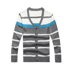 Colorful Stripe Color Block V-Neck Korean Sweater For Men