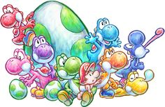 Artwork and logos from Yoshi's New Island for the Nintendo including lots of pictures of Baby Mario and the Yoshi's plus enemies like Kamek and Bowser Jr. Mario And Luigi, Mario Bros, Yoshi Drawing, Metroid, Mario Tattoo, Pokemon, Super Mario Art, Video Game Art, Colorful Drawings
