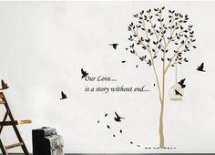 Luxe boom met zwarte blaadjes en vogels