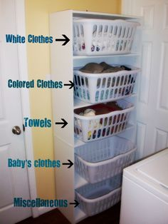 It worked! Easy laundry sorting system that even your husband can manage. Am I the only one with that problem? WalMart shelving unit + 5 laundry baskets= organized!  Hmmm.  I'll have to figure this out.  KKW