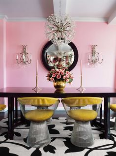 "Designed by: Betsey Johnson   Location: Fifth Avenue, Greenwich Village   Year: 1995   ""Here are two colors — a sweet pink, and a yellow with just the right amount of mustard — that are an unusual combination but work perfectly together. This room has so much spunk; it's so feminine but with some solid masculinity. I've always appreciated it for balancing those qualities so well."""