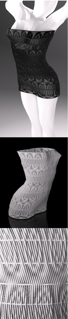 3d printed dress by studioluminaire.com. Some kind of a study-progress. The model is watertight, it's ready for 3D printing. #3dPrintedFashion