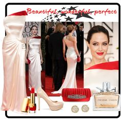 Angelina Jolie at the Golden Globes, created by enjoyjessica on Polyvore
