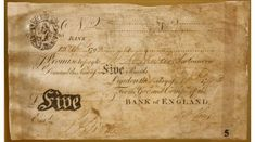 a 5 pound note from 1793...Adrian might have had one in his pocket when he took Cécile shopping in Hungerford.