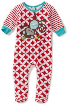 Mud Pie Baby-Boys Newborn Safari Monkey Sleeper Footie, Red/White, 9-12 Months - http://www.discoverbaby.com/maternity-clothes/sleepwear/mud-pie-baby-boys-newborn-safari-monkey-sleeper-footie-redwhite-9-12-months/