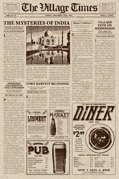 A vector illustration of an old fashioned newspaper in a Victorian. Vintage Newspaper, Newspaper Design, Vintage Paper, Speisenkarten Designs, Newspaper Background, Newspaper Wallpaper, Journal Aesthetic, Typography, Lettering
