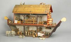 German painted Noah`s Ark, ca. with 42 animals, h. from Pook & Pook, Inc. Antique Toys, Vintage Toys, Noahs Arc, Saltbox Houses, Toy Theatre, Wooden Animals, Wood Toys, Decorative Objects, Wood Carving