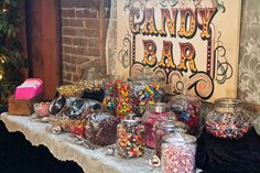 Love Is Sweet: 55 Wedding Candy Bar Ideas Bodas Shabby Chic, Shabby Chic Wedding Decor, Rustic Shabby Chic, Wedding Rustic, Rustic Weddings, Wedding Vintage, Candy Bar Wedding, Wedding Favors, Our Wedding