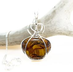Tiger Iron pendant necklace  Argentium sterling by FeathersnThingz