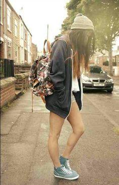 sweatshirt, shorts, shoes, beanie