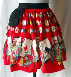 1950s Red Cotton Apron With Playing Card Queen of Hearts Themed Design