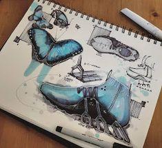Animal Inspiration for Product Design Morpho Butterfly, Blue Morpho, Sketch Design, Design Art, Architecture Concept Drawings, Industrial Design Sketch, Sketch Markers, Portfolio Design, Design Process