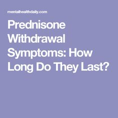 prednisone withdrawal side effects