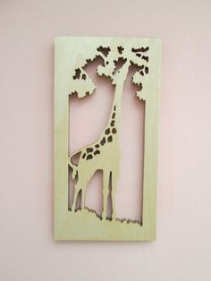 Giraffe Silhouette scroll saw cut wall plaque by ScrollOnDesigns