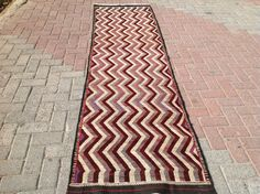"Anatolian Runner kilim. Wool on cotton handmade Turkish kilim. Sizes 284cm x 78cm or 111"" x 30"""