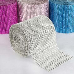 Check our Diamond Rhinestone Ribbon Wrap Roll to get This Endless Diamond Roll Silver not only shines but also comes in large quantitites! Use for the ceilings, tables, centerpieces, and favors! Ribbon Wrap, Diy Ribbon, Banquet Centerpieces, Cake And Cupcake Stand, Chair Sashes, How To Make Ribbon, Chair Covers, Vases Decor, Silver Diamonds