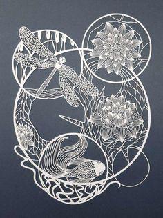 The Crisp Patterns of Pippa Dyrlaga's Paper Art Pippa Dyrlaga, Water Lilies, 2017 © Pippa Dyrlaga. Kirigami, Inspiration Art, Water Lilies, Art Plastique, Pattern Paper, Line Art, Illustration Art, Illustrations, Artsy