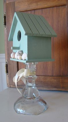 Aqua Mint Pedestal Bird House With Shells Shabby Beach Cottage